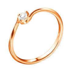 Акция на Помолвочное кольцо в комбинированном цвете золота с бриллиантом и алмазной гранью 000126371 16 размера от Zlato