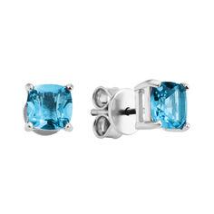 Акция на Серебряные серьги-пуссеты с голубыми топазами 000133662 от Zlato