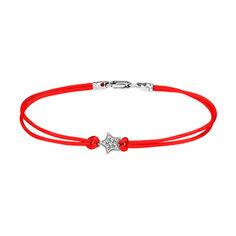 Акция на Браслет из красной шелковой нити и серебра с фианитами 000140037 16 размера от Zlato