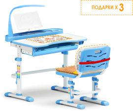 Акция на Комплект мебели Evo-kids Evo-18 (стул+стол+полка+лампа) Белый-голубой (Evo-18 BL) от Rozetka