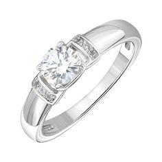 Акция на Серебряное кольцо с цирконием Swarovski 000146052 15 размера от Zlato
