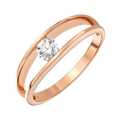 Акция на Кольцо из красного золота с цирконием Swarovski 000146043 18 размера от Zlato