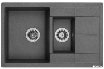 Акция на Кухонная мойка Granado Leon grafito (1009) + сифон двойной для кухонной мойки Nova с эксцентриком от Rozetka