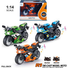 Акция на Металлический мотоцикл 1:14 инерционный MING YUAN (MY66-M1214) (в ассортименте) от Allo UA