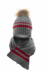 Акция на Зимний комплект (шапка + шарф) Elf-kids Арканзас 54-56 см Темно-серый/Красный (ROZ6400026734) от Rozetka