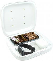 Акция на Стерилизатор для мобильного телефона с функцией беспроводной зарядки Qitech Wireless Charging Sterilizing Box 4 в 1 White (QT-UVS-4in1) от Rozetka