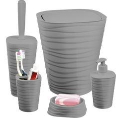 Акция на Набор аксессуаров для ванной комнаты PLANET Welle 5 предметов серый от Rozetka