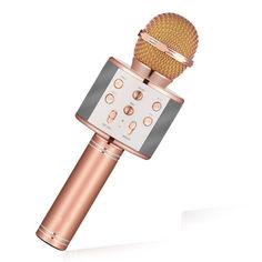 Акция на Беспроводной микрофон для караоке Wster WS-858 Розовое золото (13340-2) от Allo UA