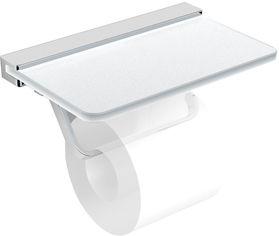 Держатель для туалетной бумаги VOLLE Teo 15-88-446 с полочкой матовое стекло/хром от Rozetka