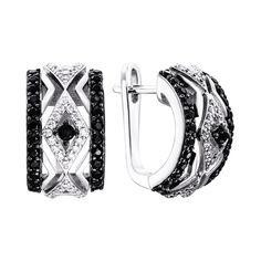 Акция на Серебряные серьги с черными и белыми фианитами 000134012 от Zlato
