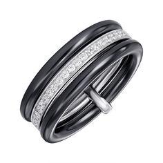 Акция на Кольцо из серебра и керамики с фианитами 000147506 18 размера от Zlato