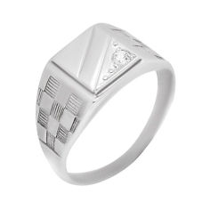 Акция на Серебряный перстень-печатка Мужественный стиль с фианитом и узорной шинкой  000088920 22 размера от Zlato