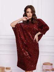 Акция на Платье ISSA PLUS 12385 L Бордовое (2000686051677) от Rozetka