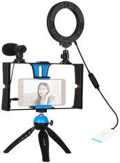 Акция на Комплект блогера Puluz PKT3025L 4в1 (кольцевой свет, крепление, держатель для телефона, микрофон) от Rozetka