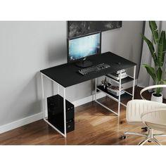 Акция на Компьютерный стол Rimos 1200х750х600 мм GERMES белый ЛДСП Черный 16мм (Z-22_B_B) от Allo UA