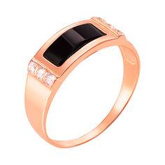 Акция на Перстень-печатка из красного золота с черным ониксом и фианитами 000104111 22 размера от Zlato