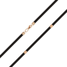 Акция на Коричневый ювелирный шнурок из текстиля и красного золота 000145482 45 размера от Zlato