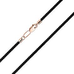 Акция на Черный синтетический шнурок с замком из красного золота, 2мм 000121556 40 размера от Zlato