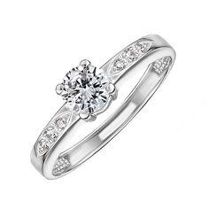Акция на Золотое помолвочное кольцо в белом цвете с фианитами 000122171 15.5 размера от Zlato