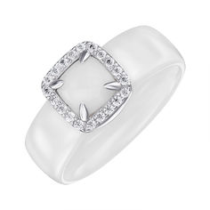 Акция на Кольцо из серебра и керамики с фианитами 000147503 17.5 размера от Zlato