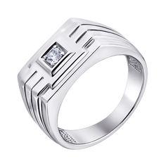 Акция на Серебряный перстень-печатка с цирконием 000140548 21.5 размера от Zlato