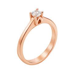 Акция на Золотое помолвочное кольцо Налита в красном цвете с кристаллом Swarovski 16.5 размера от Zlato