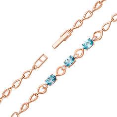Акция на Золотой браслет в красном цвете со звеньями-сердечками, голубыми топазами и фианитами 000125368 18 размера от Zlato
