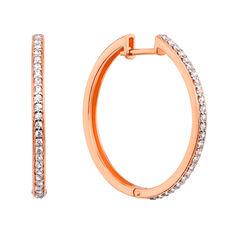 Акция на Золотые серьги-кольца в комбинированном цвете с фианитами 000126164 от Zlato