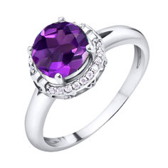 Акция на Серебряное кольцо Небеса с аметистом и фианитами 000067756 16.5 размера от Zlato