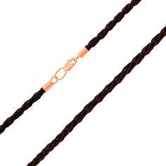 Акция на Плетеный кожаный шнурок с золотым замочком 3 мм 000103594 55 размера от Zlato
