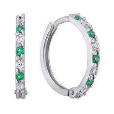 Акция на Серебряные серьги-конго с зелеными и белыми фианитами, 17.5мм 000120563 от Zlato
