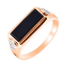 Акция на Золотой перстень-печатка Джонатан в комбинированом цвете с черным ониксом и фианитами 19.5 размера от Zlato