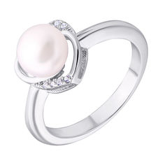 Акция на Серебряное кольцо с жемчугом и фианитами 000132592 18 размера от Zlato