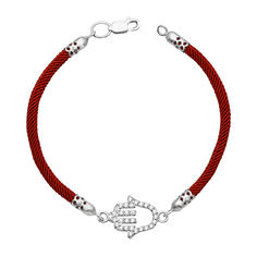 Акция на Браслет Рука Фатимы из крученого красного шнурка и серебра с фианитами 000133583 17 размера от Zlato