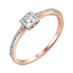 Акция на Золотое кольцо в комбинированном цвете с цирконием 000140758 17.5 размера от Zlato