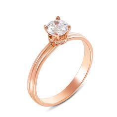 Акция на Золотое помолвочное кольцо Констанца в красном цвете с фианитами 16 размера от Zlato