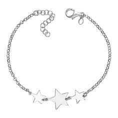 Акция на Серебряный браслет со звеньями-звездами 000136585 17.5 размера от Zlato