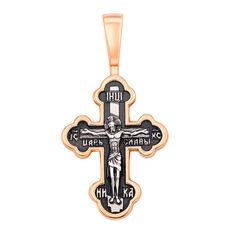 Акция на Православный серебряный крестик с позолотой и чернением 000136593 от Zlato