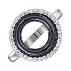 Акция на Кольцо из серебра с керамикой и фианитами 000147474 19 размера от Zlato
