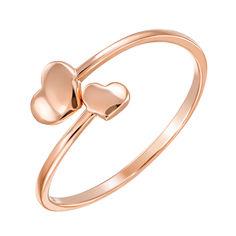 Акция на Золотое кольцо Два сердца в красном цвете 15.5 размера от Zlato