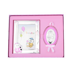 Акция на Посеребренная икона в наборе с рамкой для фотографии в розовом цвете 000131803 от Zlato