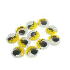 Акция на Глазики  GLA для игрушек с ресничками (10шт/12мм) Желтые от Allo UA
