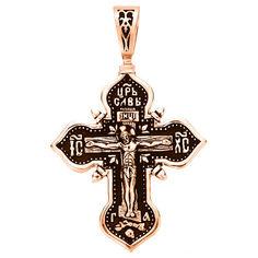 Акция на Двусторонний крестик из красного золота Царь Славы и Богородица с чернением 000103806 от Zlato