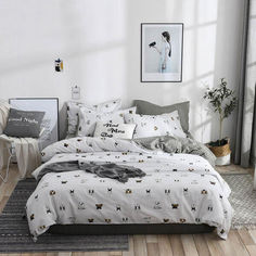 Акция на Комплект постельного белья Dog faces (полуторный) Berni Home Серый (53143) от Allo UA