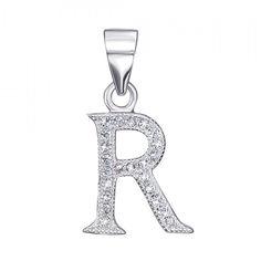Акция на Серебряная подвеска буква R с фианитами 000126986 от Zlato