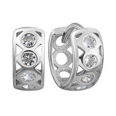 Акция на Серебряные серьги с фианитами, 12мм 000132440 от Zlato