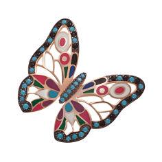 Акция на Серебряная брошка Бабочка с нанокристаллами и эмалью 000052646 от Zlato