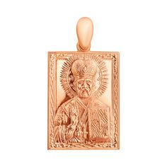 Акция на Золотая ладанка Святой Николай Угодник прямоугольной формы с узором по периметру 000103507 от Zlato