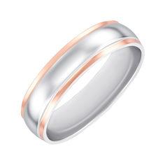 Акция на Серебряное обручальное кольцо с золотыми вставками 000137850 16 размера от Zlato