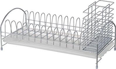 Акция на Сушка настольная с держателем приборов и поддоном Lemax Нержавеющая сталь (LF-514 S/S) от Rozetka
